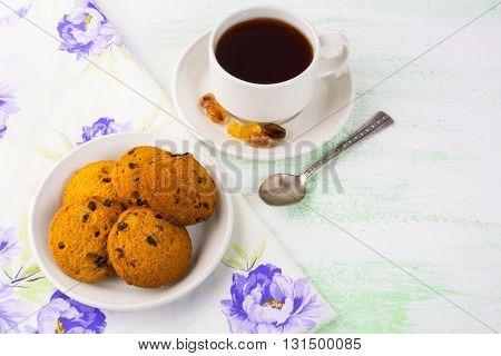 Breakfast tea top view. Homemade biscuit. Homemade cookies.Sweet dessert. Sweet pastry. Cup of tea. Tea cup. Breakfast tea. . Breakfast cookies.