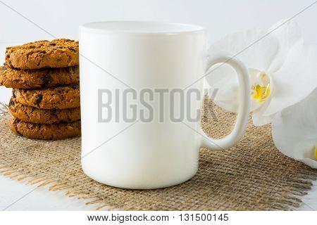 Coffee mug mockup with cookies. White mug mockup. Mug Product Mockup. Styled mockup. Product mockup. White cup mockup. Cup mockup. Blank mug. Empty Mug Mockup
