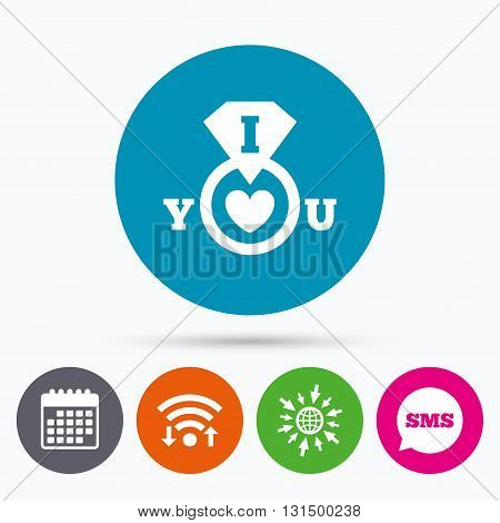 Wifi, Sms and calendar icons. I Love you sign icon. Valentines day symbol. Go to web globe.