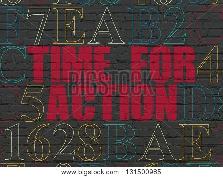 Time concept: Painted red text Time for Action on Black Brick wall background with Hexadecimal Code