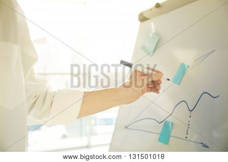 Businessman drawing schedule on whiteboard