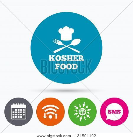 Wifi, Sms and calendar icons. Kosher food product sign icon. Natural Jewish food with chef hat spoon and fork symbol. Go to web globe.