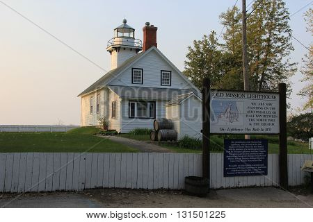 The Old Mission Lighthouse located halfway between the North Pole and equator near Traverse City, Michigan