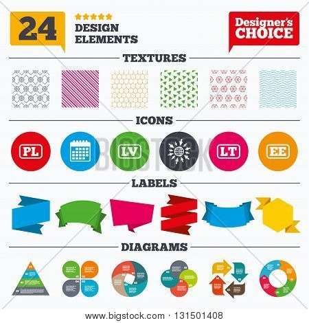 Banner tags, stickers and chart graph. Language icons. PL, LV, LT and EE translation symbols. Poland, Latvia, Lithuania and Estonia languages. Linear patterns and textures.