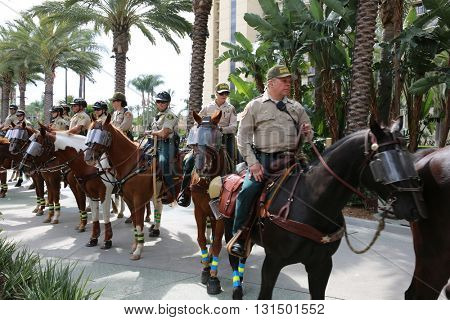 ANAHEIM CALIFORNIA, May 25, 2016: Mounted Police and their Police Horses protect Supporters and Fans alike at the Donald J. Trump Presidential Rally at the  Anaheim Convention Center.  5.25.2016