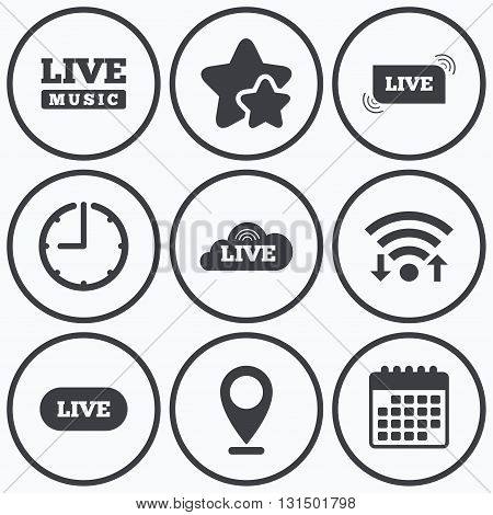 Clock, wifi and stars icons. Live music icons. Karaoke or On air stream symbols. Cloud sign. Calendar symbol.