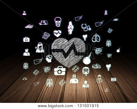 Health concept: Glowing Heart icon in grunge dark room with Wooden Floor, black background with  Hand Drawn Medicine Icons