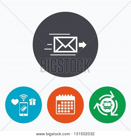 Mail delivery icon. Envelope symbol. Message sign. Mail navigation button. Mobile payments, calendar and wifi icons. Bus shuttle.