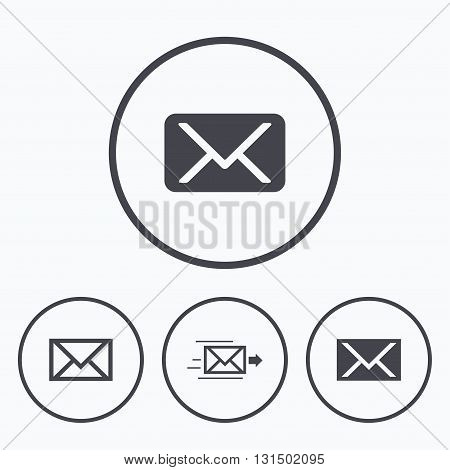 Mail envelope icons. Message delivery symbol. Post office letter signs. Icons in circles.
