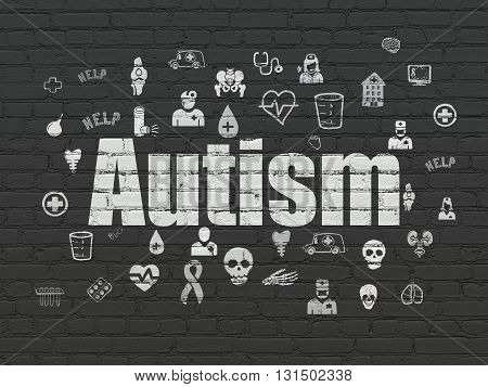 Healthcare concept: Painted white text Autism on Black Brick wall background with  Hand Drawn Medicine Icons