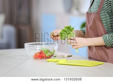 Young woman preparing vegetable salad in the kitchen
