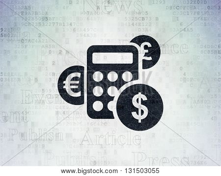 News concept: Painted black Calculator icon on Digital Data Paper background with  Tag Cloud