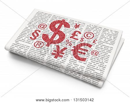 News concept: Pixelated red Finance Symbol icon on Newspaper background, 3D rendering