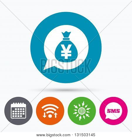 Wifi, Sms and calendar icons. Money bag sign icon. Yen JPY currency speech bubble symbol. Go to web globe.