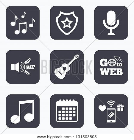 Mobile payments, wifi and calendar icons. Music icons. Microphone karaoke symbol. Music notes and acoustic guitar signs. Go to web symbol.
