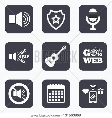 Mobile payments, wifi and calendar icons. Musical elements icons. Microphone and Sound speaker symbols. No Sound and acoustic guitar signs. Go to web symbol.
