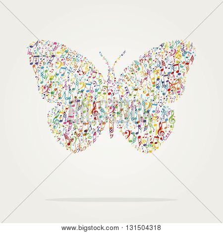 butterfly shape music color with notes textura