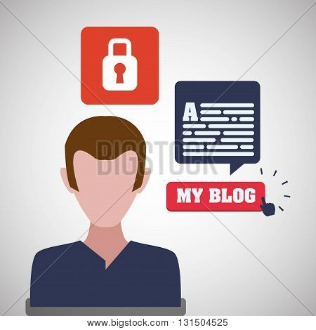Blogging concept with icon design, vector illustration 10 eps graphic.