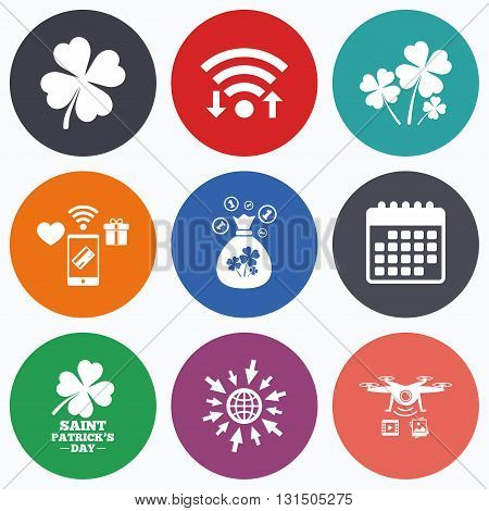 Wifi, mobile payments and drones icons. Saint Patrick day icons. Money bag with clovers and coins sign. Symbol of good luck. Calendar symbol.