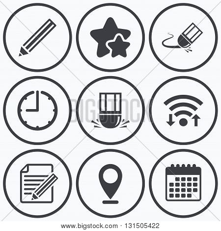 Clock, wifi and stars icons. Pencil icon. Edit document file. Eraser sign. Correct drawing symbol. Calendar symbol.