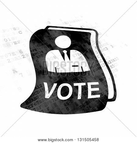 Politics concept: Pixelated black Ballot icon on Digital background