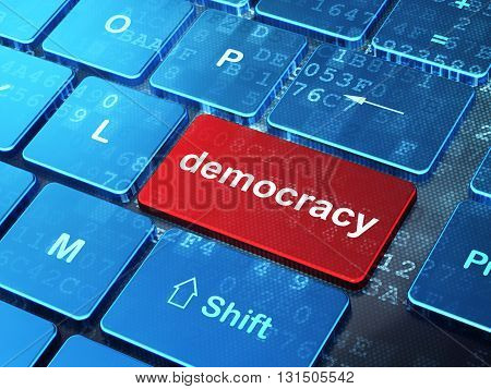 Political concept: computer keyboard with word Democracy on enter button background, 3D rendering