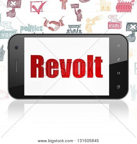 Politics concept: Smartphone with  red text Revolt on display,  Hand Drawn Politics Icons background, 3D rendering