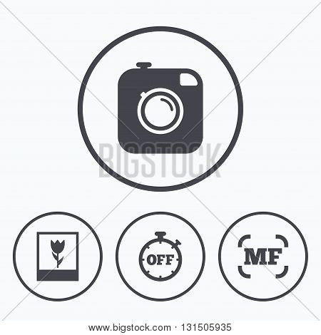 Hipster retro photo camera icon. Manual focus symbols. Stopwatch timer off sign. Macro symbol. Icons in circles.
