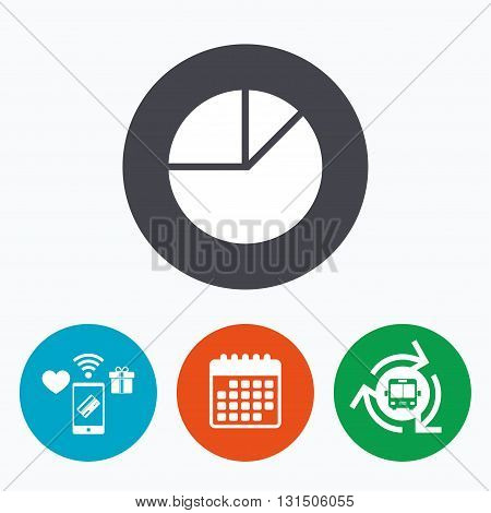 Pie chart graph sign icon. Diagram button. Mobile payments, calendar and wifi icons. Bus shuttle.