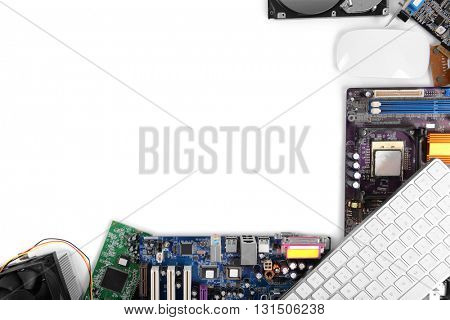 Set of computer parts isolated on white, copy space