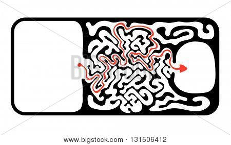 Vector maze, labyrinth illustration with solution.
