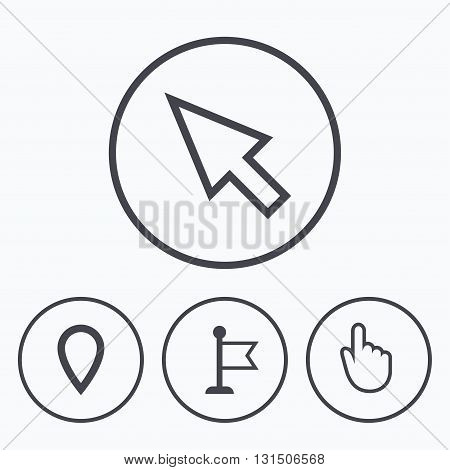 Mouse cursor icon. Hand or Flag pointer symbols. Map location marker sign. Icons in circles.