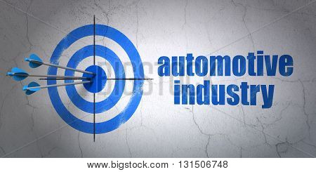 Success Industry concept: arrows hitting the center of target, Blue Automotive Industry on wall background, 3D rendering