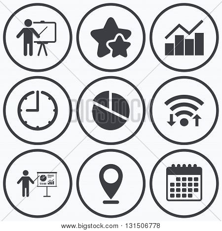Clock, wifi and stars icons. Diagram graph Pie chart icon. Presentation billboard symbol. Man standing with pointer sign. Calendar symbol.