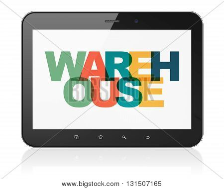 Manufacuring concept: Tablet Computer with Painted multicolor text Warehouse on display, 3D rendering