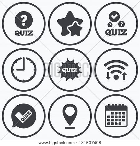 Clock, wifi and stars icons. Quiz icons. Speech bubble with check mark symbol. Explosion boom sign. Calendar symbol.