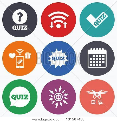 Wifi, mobile payments and drones icons. Quiz icons. Speech bubble with check mark symbol. Explosion boom sign. Calendar symbol.