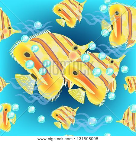 Seamless butterflyfish pattern on a dark blue background vector illustration
