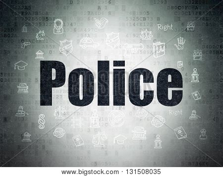 Law concept: Painted black text Police on Digital Data Paper background with  Hand Drawn Law Icons