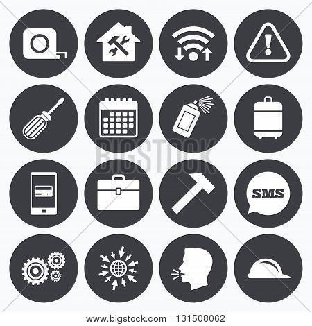 Wifi, calendar and mobile payments. Repair, construction icons. Helmet, screwdriver and hammer signs. Gears, painting spray and attention symbols. Sms speech bubble, go to web symbols.