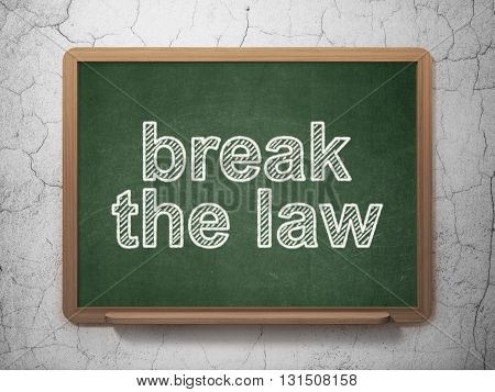 Law concept: text Break The Law on Green chalkboard on grunge wall background, 3D rendering