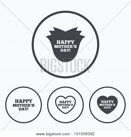 Happy Mothers's Day icons. Mom love heart symbols. Flower rose sign. Icons in circles.