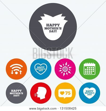 Wifi, like counter and calendar icons. Happy Mothers's Day icons. Mom love heart symbols. Flower rose sign. Human talk, go to web.