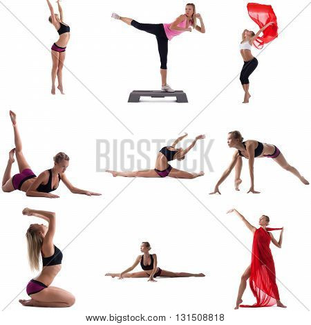 Photo set of girl engaged in aerobics. Isolated on white