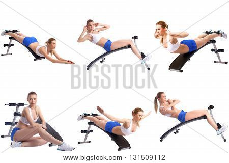 Fitness. Collection of blonde girl exercising on simulator