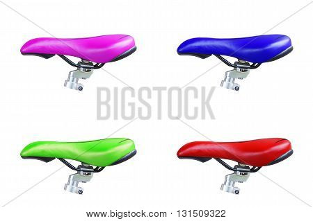 bike seat isolated on white Background. Purple bike seat. Blue bike seat. Green bike seat. Red bike seat.
