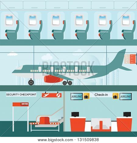 Set of airport terminal with check in counter and security checkpoint Passenger airline in airport terminal and Airline interior with plane seat on the flight business travel vector illustration.