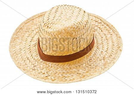 The straw hat isolated on white background.
