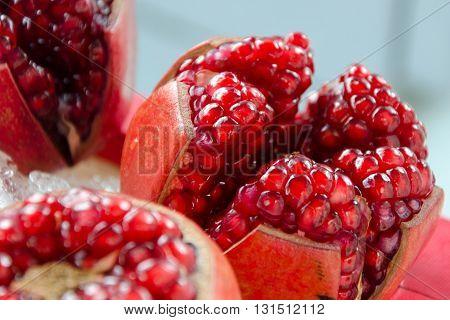 Fresh Pomegranate (Punica granatum), Pomegranate on ice