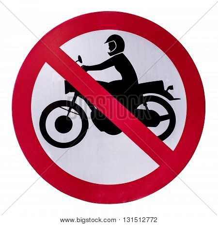 No motorcycle sign isolate on white background.